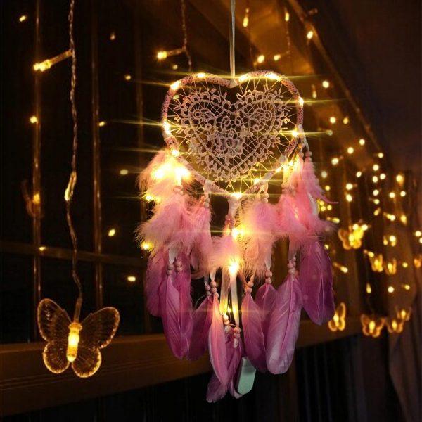 attrape rêve cœur rose
