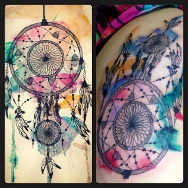 tatouages aquarelle capteur de rêve